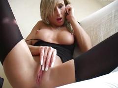 Babe having telephone sex