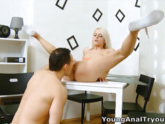 Violetta is a sexy blonde and waits patiently for her man to arrive and have some fun.