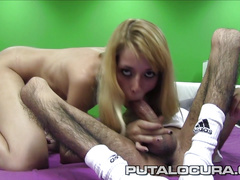 Blonde fucks a disabled guy