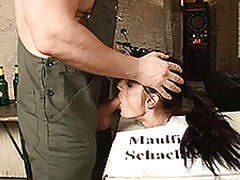 German chick enjoys bondage and oral action