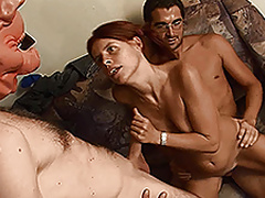 Kinky redhead MILF in hot threesome action