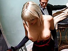 Two busty Euro girls get naughty in a foursome